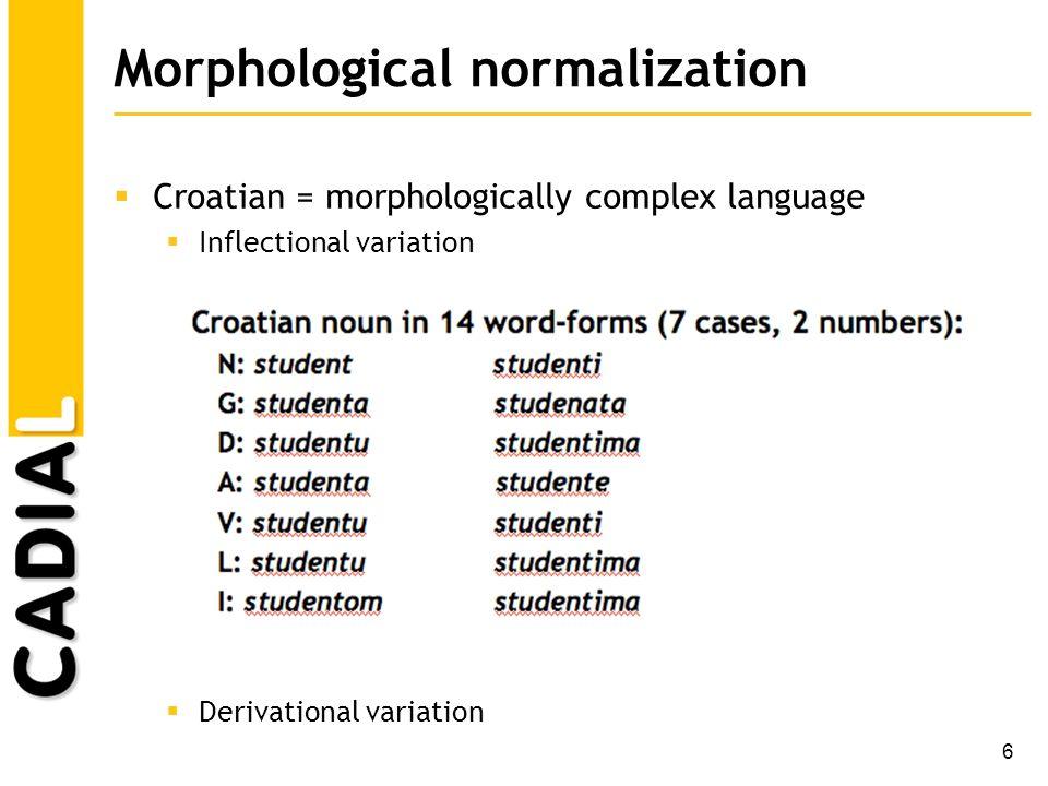 7 Morphological normalization Lexicon-based normalization [Snajder et al.