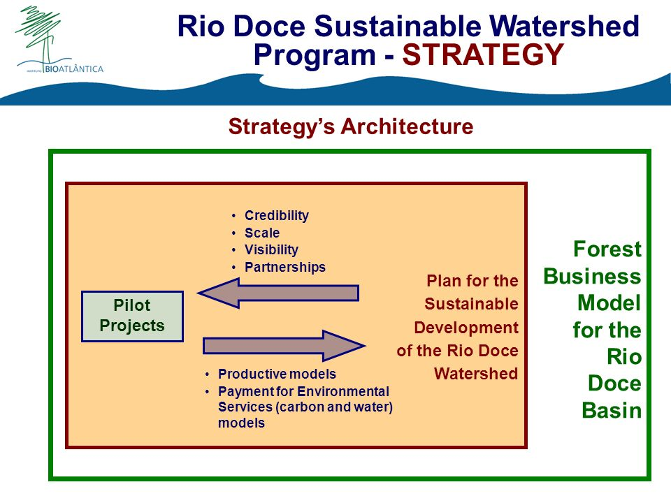 Plan for the Sustainable Development of the Rio Doce Watershed Pilot Projects Strategys Architecture Credibility Scale Visibility Partnerships Productive models Payment for Environmental Services (carbon and water) models Forest Business Model for the Rio Doce Basin Rio Doce Sustainable Watershed Program - STRATEGY