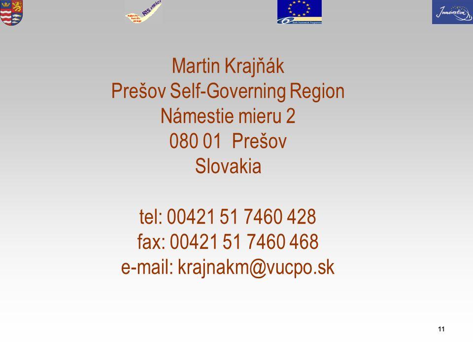 11 Martin Krajňák Prešov Self-Governing Region Námestie mieru 2 080 01 Prešov Slovakia tel: 00421 51 7460 428 fax: 00421 51 7460 468 e-mail: krajnakm@vucpo.sk