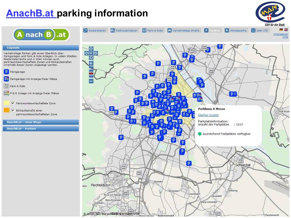 10Rainer Haselberger, City of Vienna – ITS Vienna Region 2010 AnachB.at AnachB.at parking information