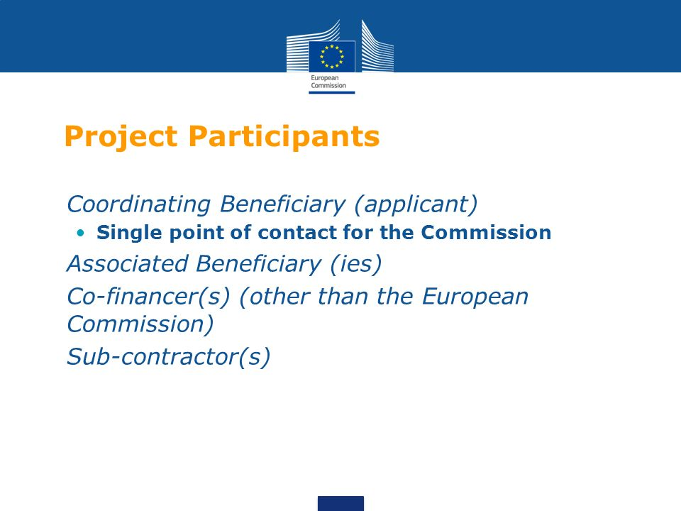Project Participants Coordinating Beneficiary (applicant) Single point of contact for the Commission Associated Beneficiary (ies) Co-financer(s) (other than the European Commission) Sub-contractor(s)