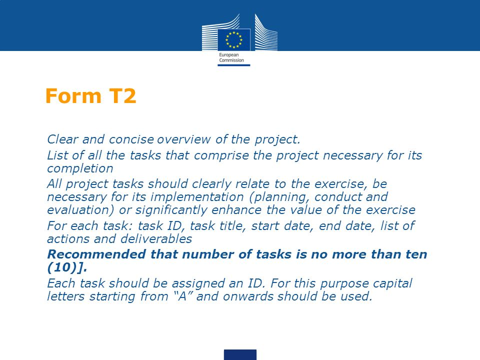 Form T2 Clear and concise overview of the project.