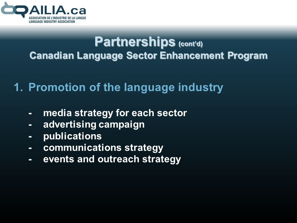 Partnerships (contd) Canadian Language Sector Enhancement Program 1.Promotion of the language industry -media strategy for each sector -advertising campaign -publications -communications strategy -events and outreach strategy