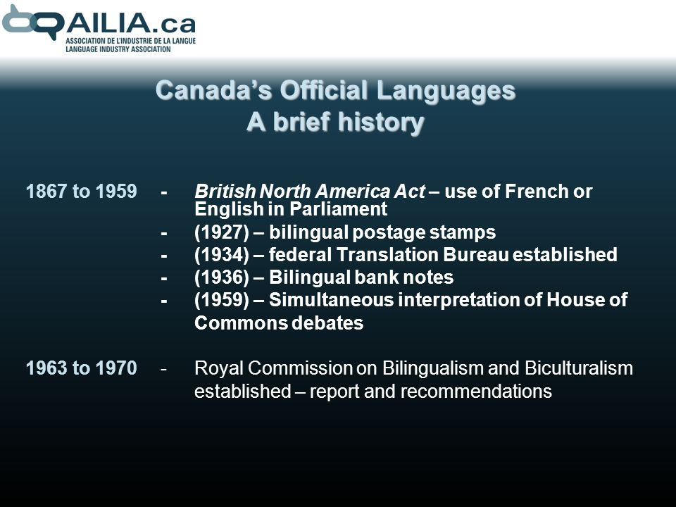 1970-Creation of bilingual education programs -Establishment of Office of the Commissioner of Official Languages 1974-Coming into force of the Consumer Packaging and Labelling Act 1982-Proclamation of the Constitution Act, including the Canadian Charter of Rights and Freedoms 1971-Canada becomes the first country in the world to adopt an official multiculturalism policy.
