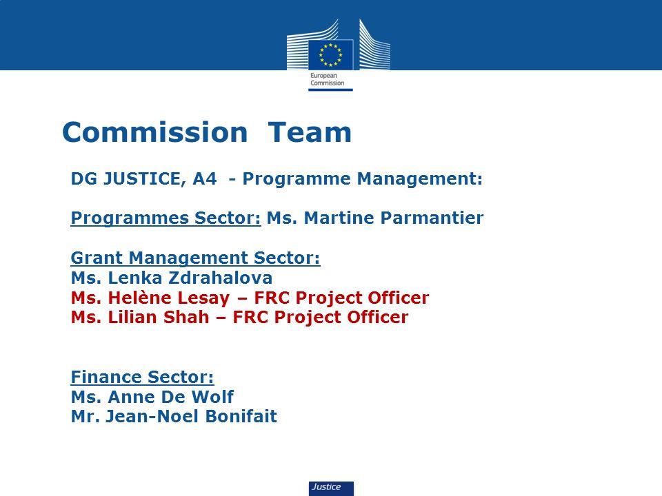 Commission Team DG JUSTICE, A4 - Programme Management: Programmes Sector: Ms. Martine Parmantier Grant Management Sector: Ms. Lenka Zdrahalova Ms. Hel