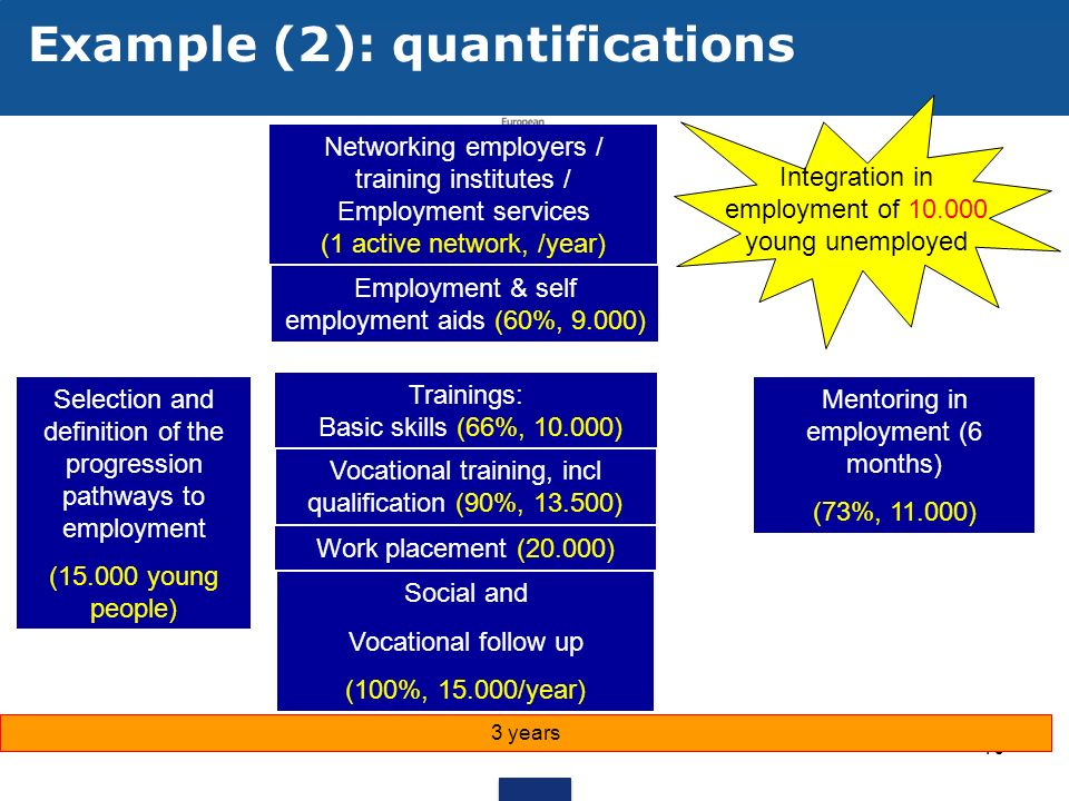 10 Example (2): quantifications Selection and definition of the progression pathways to employment (15.000 young people) Social and Vocational follow