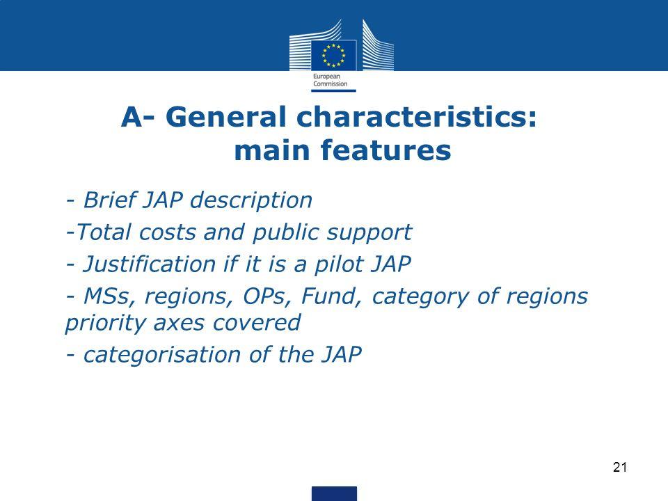 A- General characteristics: main features - Brief JAP description -Total costs and public support - Justification if it is a pilot JAP - MSs, regions,