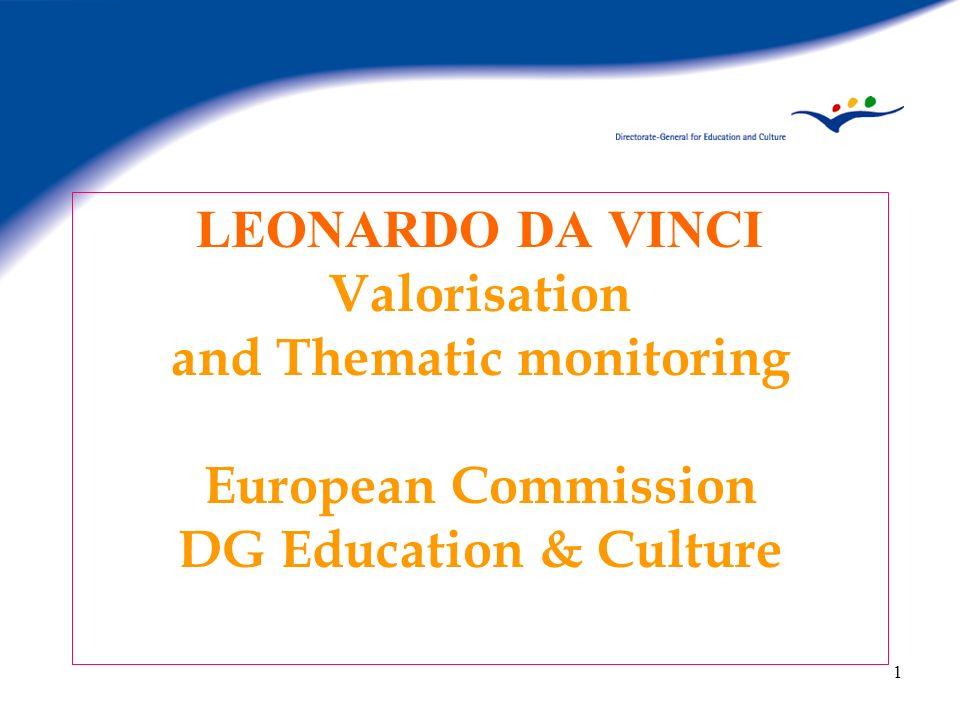 1 LEONARDO DA VINCI Valorisation and Thematic monitoring European Commission DG Education & Culture