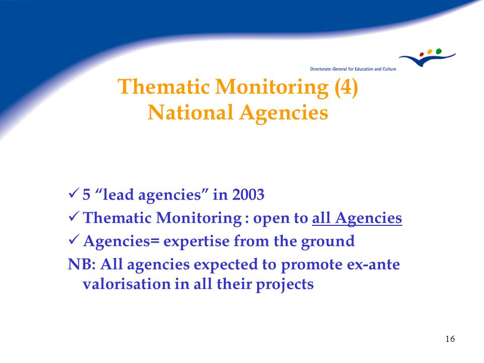 16 Thematic Monitoring (4) National Agencies 5 lead agencies in 2003 Thematic Monitoring : open to all Agencies Agencies= expertise from the ground NB