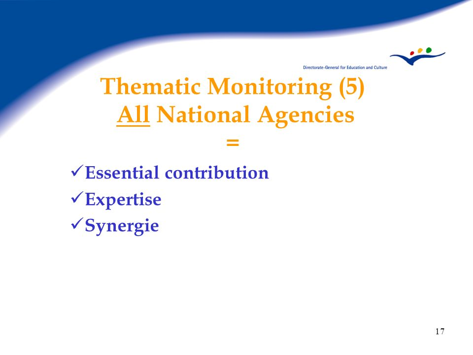 17 Thematic Monitoring (5) All National Agencies = Essential contribution Expertise Synergie