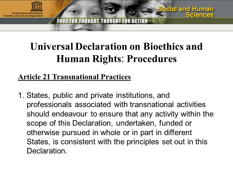 Article 21 Transnational Practices 1. States, public and private institutions, and professionals associated with transnational activities should endea
