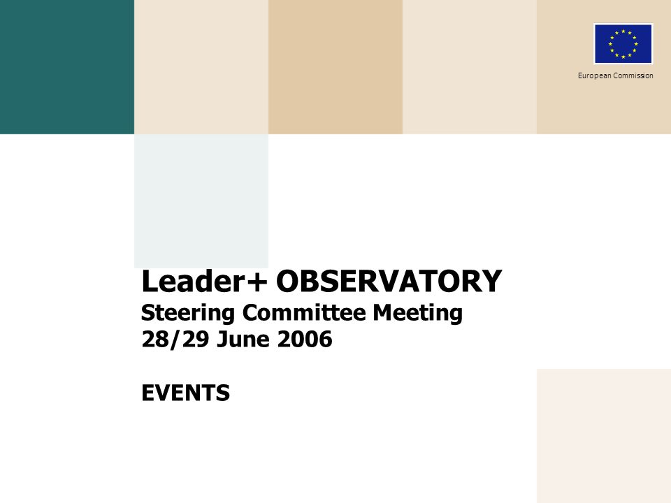 Leader+ OBSERVATORY Steering Committee Meeting 28/29 June 2006 EVENTS European Commission