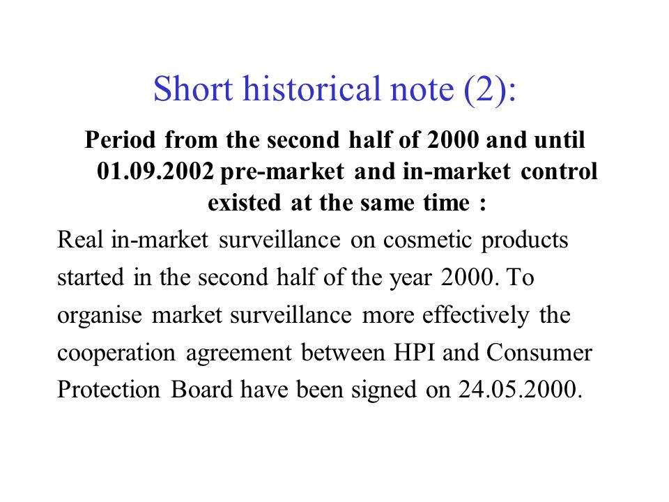 Short historical note (2): Period from the second half of 2000 and until 01.09.2002 pre-market and in-market control existed at the same time : Real i