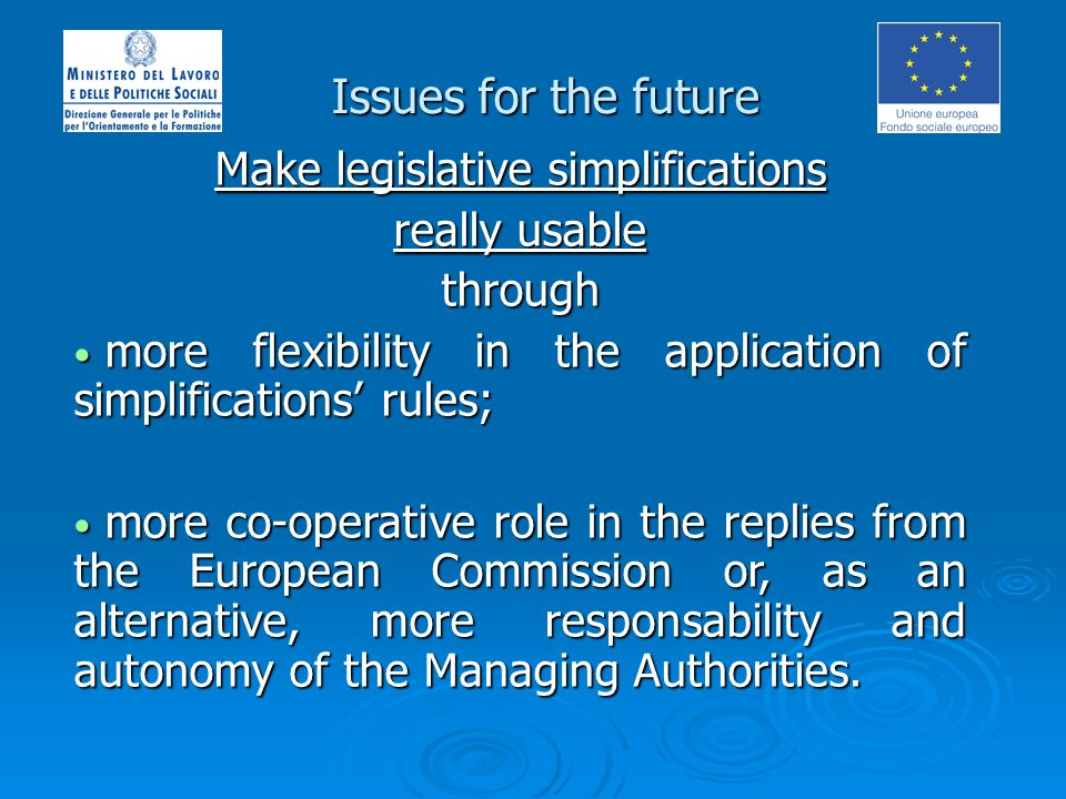 Issues for the future Make legislative simplifications really usable through more flexibility in the application of simplifications rules; more flexibility in the application of simplifications rules; more co-operative role in the replies from the European Commission or, as an alternative, more responsability and autonomy of the Managing Authorities.