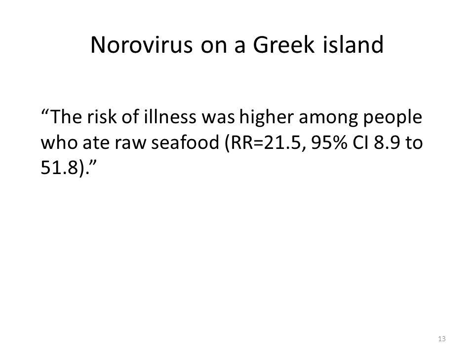 Norovirus on a Greek island The risk of illness was higher among people who ate raw seafood (RR=21.5, 95% CI 8.9 to 51.8). 13