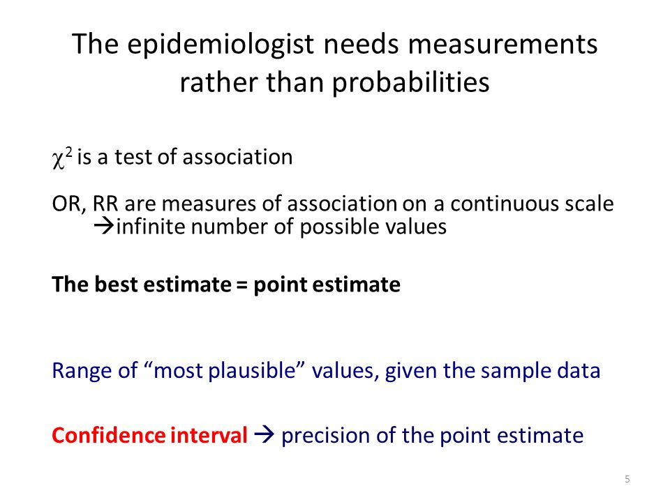 The epidemiologist needs measurements rather than probabilities 2 is a test of association OR, RR are measures of association on a continuous scale in