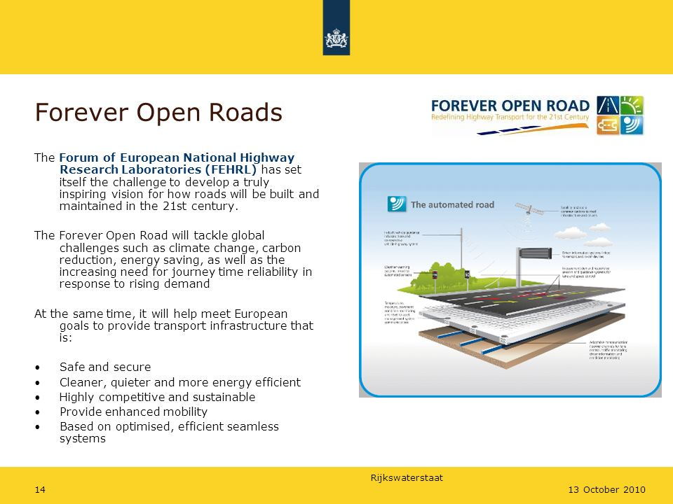 Rijkswaterstaat 1413 October 2010 Forever Open Roads The Forum of European National Highway Research Laboratories (FEHRL) has set itself the challenge