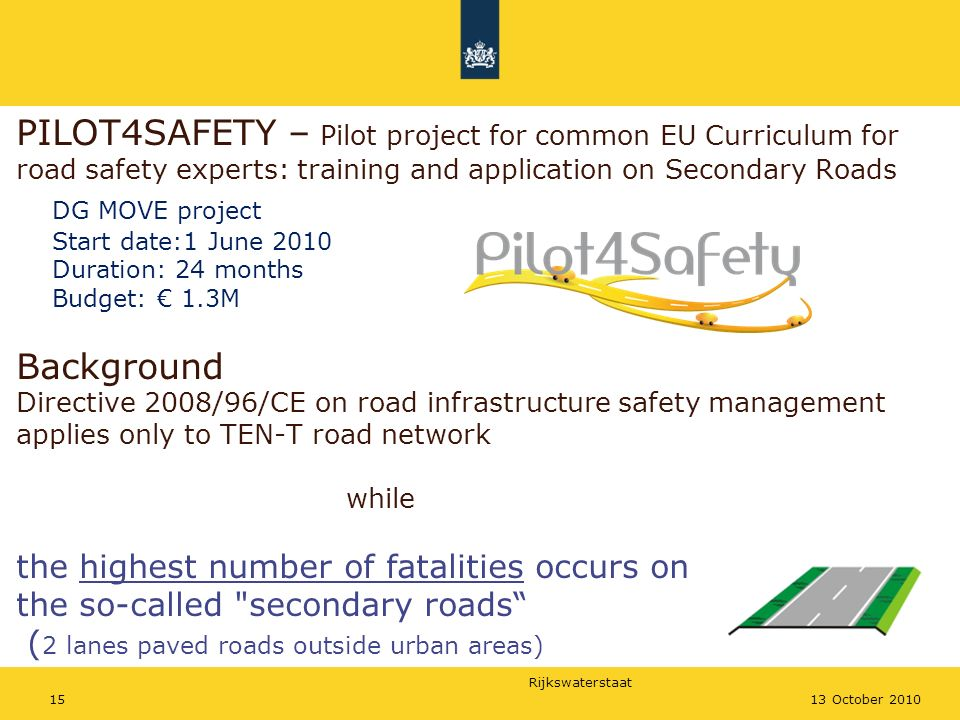 Rijkswaterstaat PILOT4SAFETY – Pilot project for common EU Curriculum for road safety experts: training and application on Secondary Roads DG MOVE pro