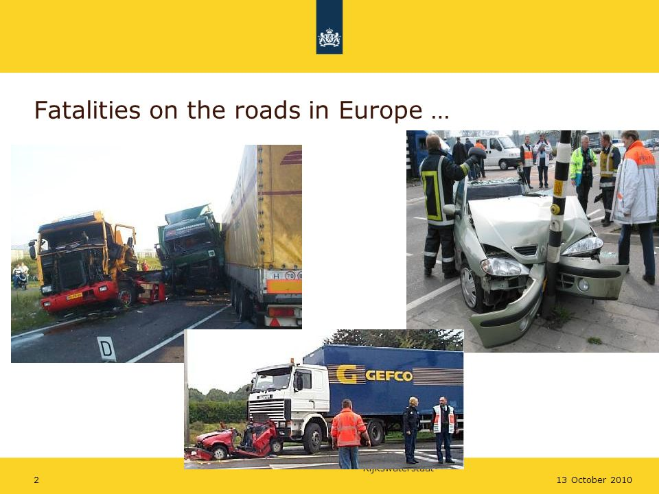 Rijkswaterstaat 213 October 2010 Fatalities on the roads in Europe …