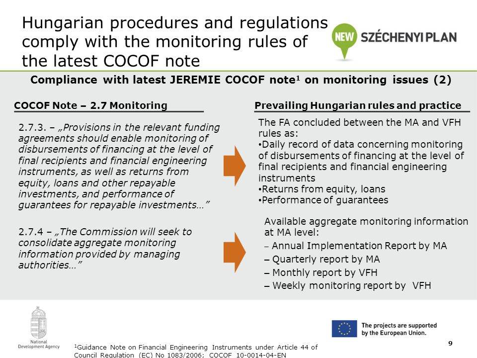 Hungarian procedures and regulations comply with the monitoring rules of the latest COCOF note Compliance with latest JEREMIE COCOF note 1 on monitoring issues (2) 1 Guidance Note on Financial Engineering Instruments under Article 44 of Council Regulation (EC) No 1083/2006; COCOF_10-0014-04-EN COCOF Note – 2.7 Monitoring 2.7.3.