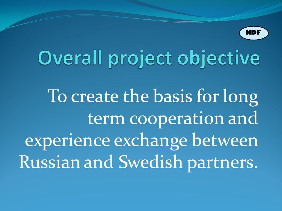 To create the basis for long term cooperation and experience exchange between Russian and Swedish partners.