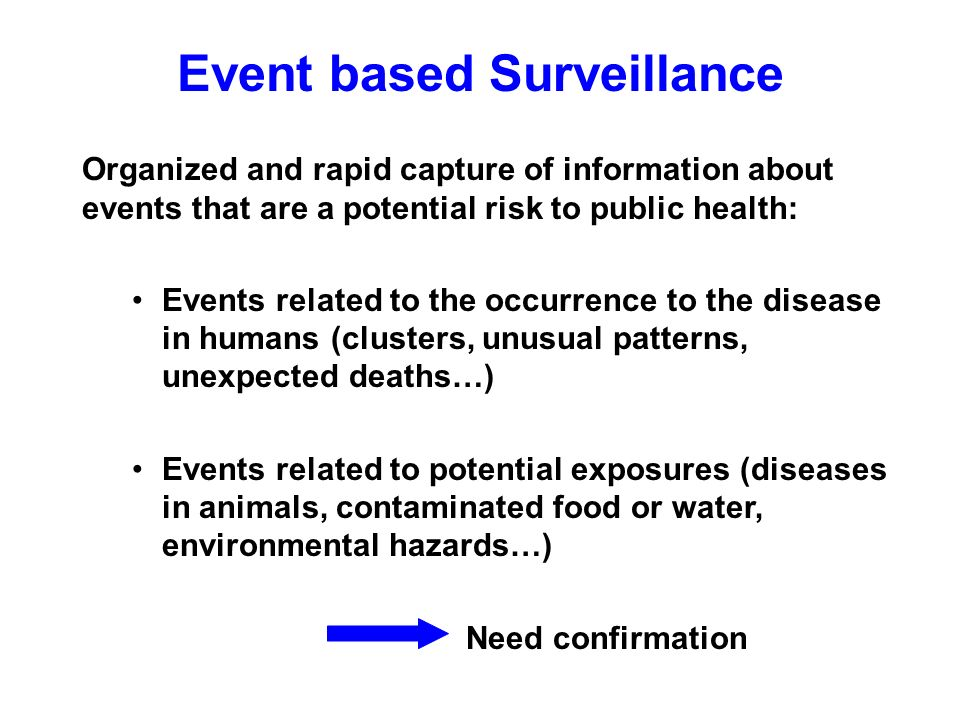 Event based Surveillance Organized and rapid capture of information about events that are a potential risk to public health: Events related to the occurrence to the disease in humans (clusters, unusual patterns, unexpected deaths…) Events related to potential exposures (diseases in animals, contaminated food or water, environmental hazards…) Need confirmation