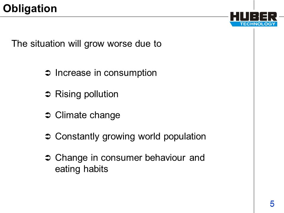 5 Obligation Increase in consumption Rising pollution Climate change Constantly growing world population Change in consumer behaviour and eating habits The situation will grow worse due to