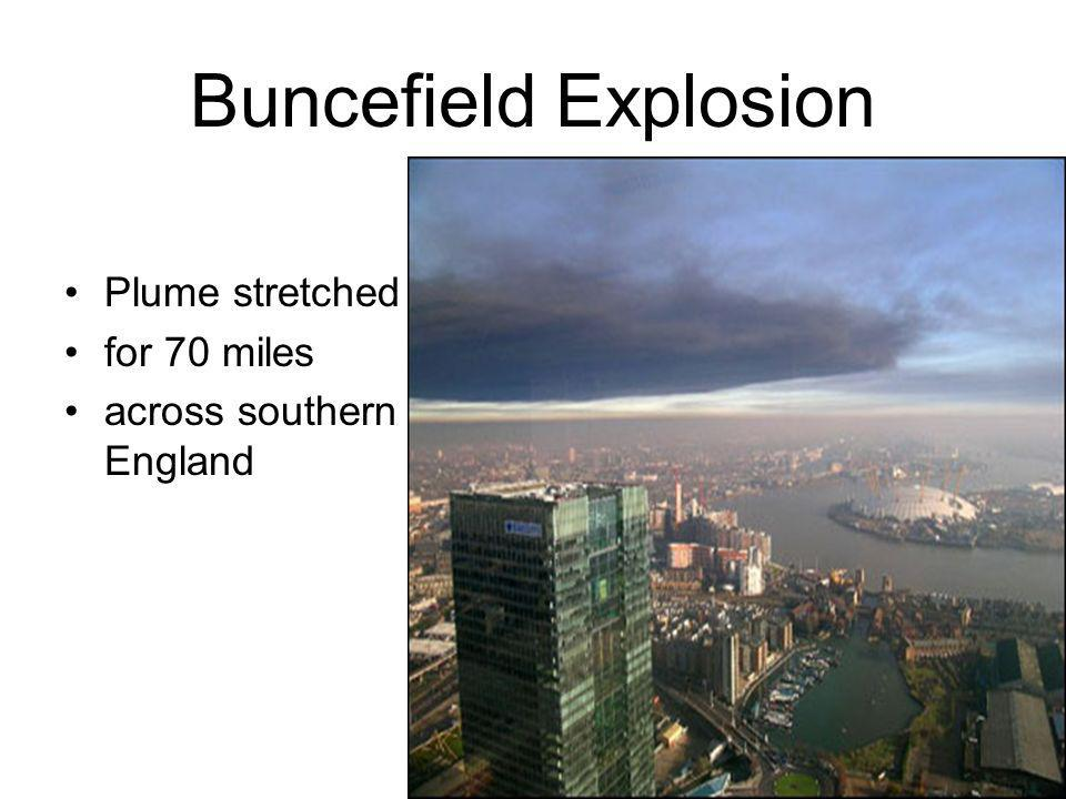 Buncefield Explosion Plume stretched for 70 miles across southern England