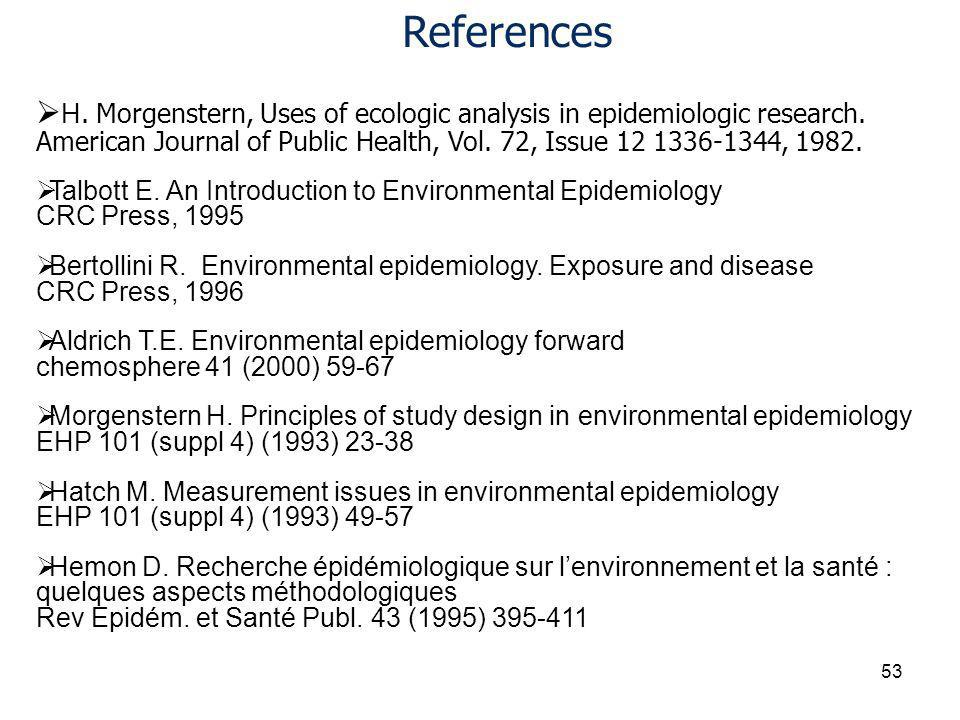 H. Morgenstern, Uses of ecologic analysis in epidemiologic research.