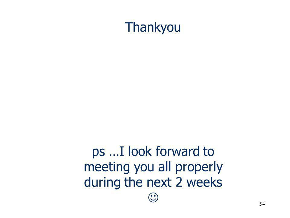 Thankyou ps …I look forward to meeting you all properly during the next 2 weeks 54