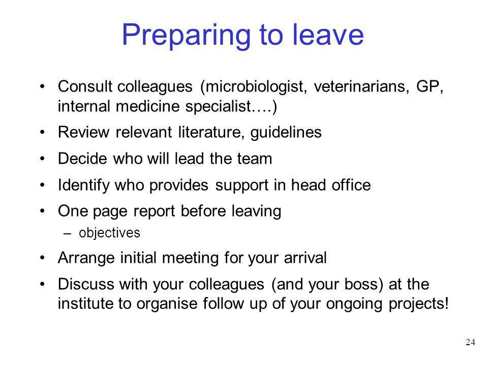 24 Preparing to leave Consult colleagues (microbiologist, veterinarians, GP, internal medicine specialist….) Review relevant literature, guidelines De