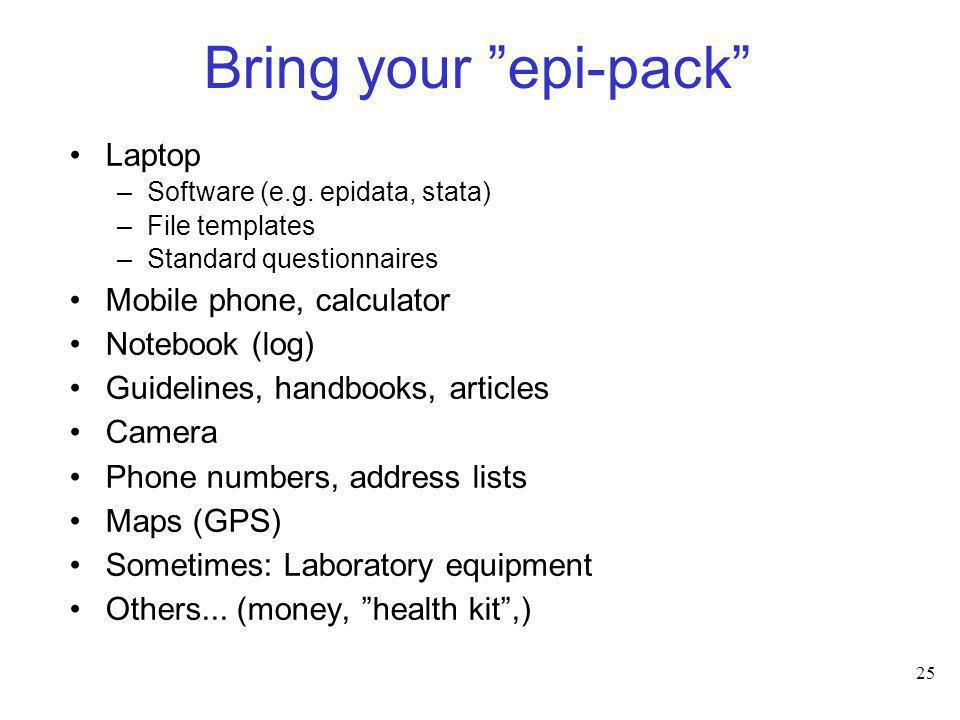 25 Bring your epi-pack Laptop –Software (e.g. epidata, stata) –File templates –Standard questionnaires Mobile phone, calculator Notebook (log) Guideli