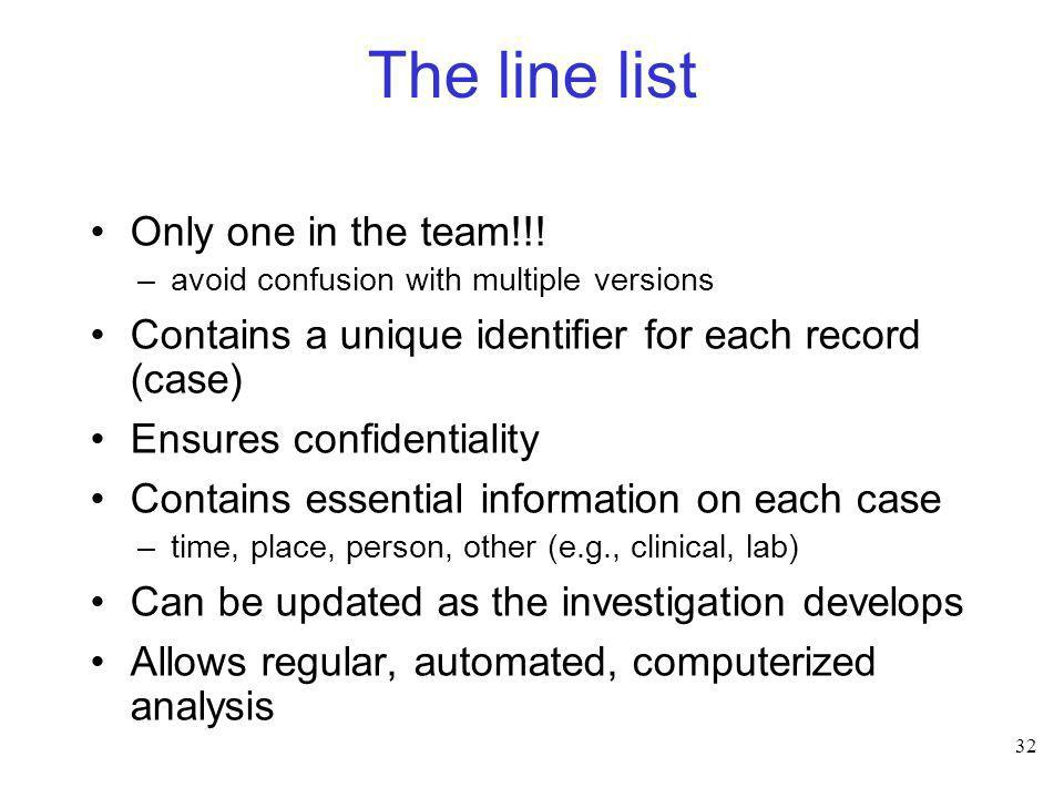32 The line list Only one in the team!!! –avoid confusion with multiple versions Contains a unique identifier for each record (case) Ensures confident