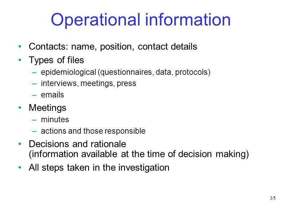 35 Operational information Contacts: name, position, contact details Types of files –epidemiological (questionnaires, data, protocols) –interviews, me
