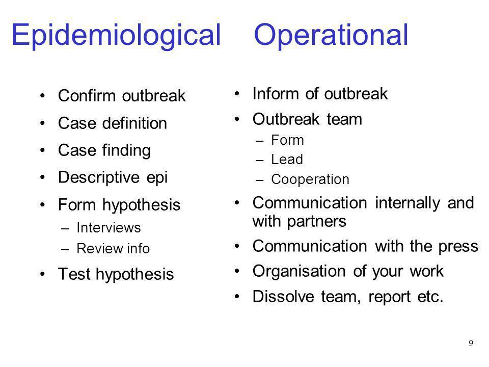 9 Epidemiological Operational Confirm outbreak Case definition Case finding Descriptive epi Form hypothesis –Interviews –Review info Test hypothesis I