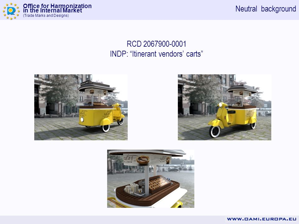 Office for Harmonization in the Internal Market (Trade Marks and Designs) RCD 2067900-0001 INDP: Itinerant vendors carts Neutral background