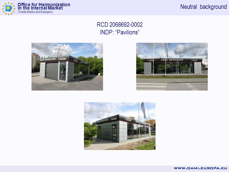 Office for Harmonization in the Internal Market (Trade Marks and Designs) RCD 2068692-0002 INDP: Pavilions Neutral background