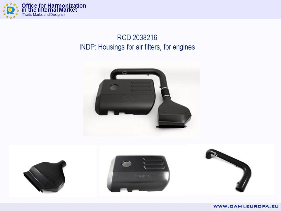 Office for Harmonization in the Internal Market (Trade Marks and Designs) RCD 2038216 INDP: Housings for air filters, for engines
