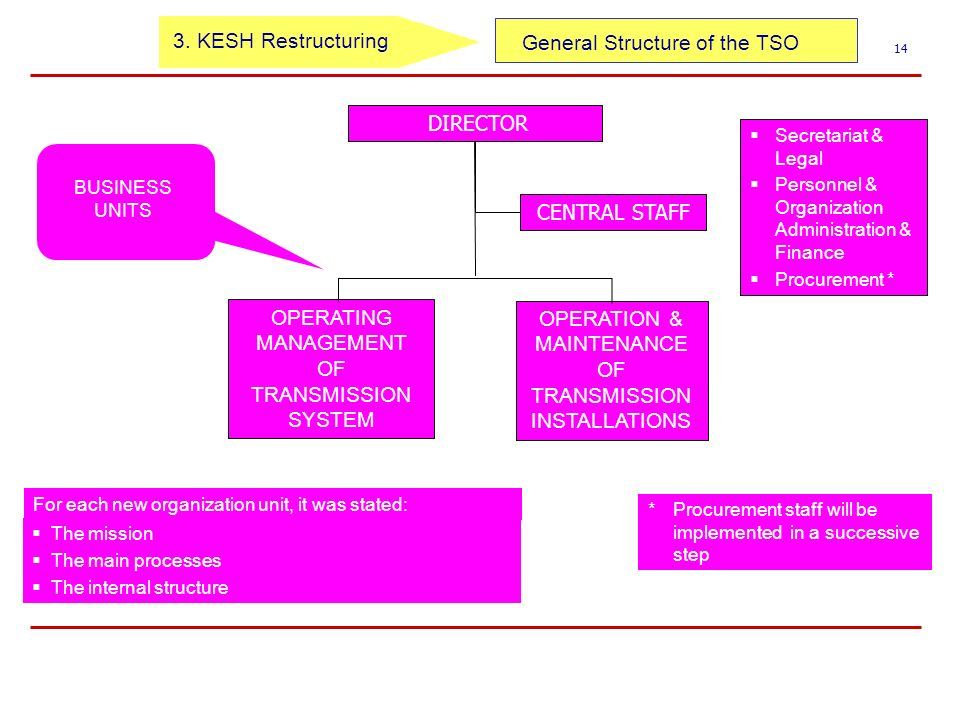 General Structure of the TSO 14 DIRECTOR CENTRAL STAFF Secretariat & Legal Personnel & Organization Administration & Finance Procurement * For each new organization unit, it was stated: The mission The main processes The internal structure * Procurement staff will be implemented in a successive step OPERATING MANAGEMENT OF TRANSMISSION SYSTEM OPERATION & MAINTENANCE OF TRANSMISSION INSTALLATIONS BUSINESS UNITS 3.