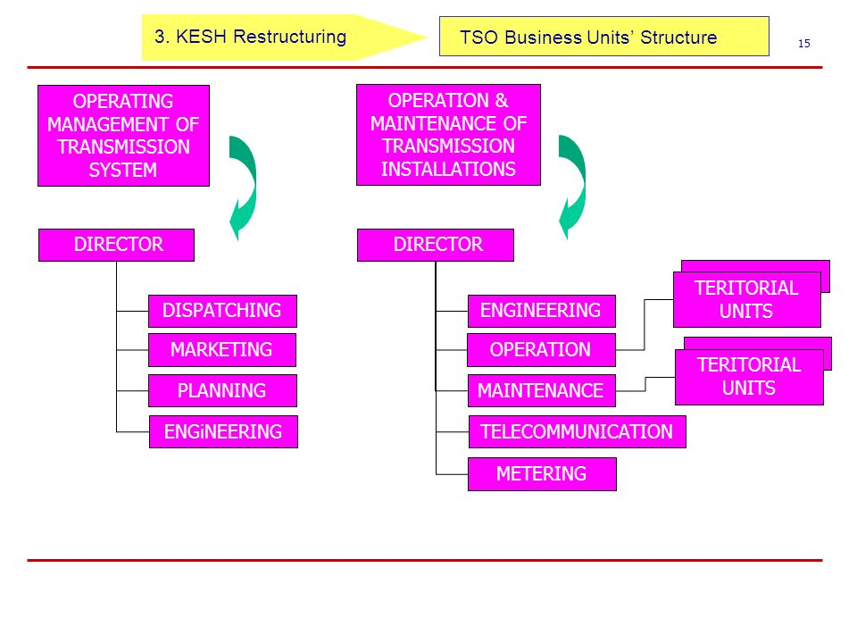 TSO Business Units Structure 15 OPERATION & MAINTENANCE OF TRANSMISSION INSTALLATIONS OPERATING MANAGEMENT OF TRANSMISSION SYSTEM DIRECTOR DISPATCHING MARKETING PLANNING ENGiNEERING TERITORIAL UNITS DIRECTOR ENGINEERING OPERATION MAINTENANCE TELECOMMUNICATION METERING TERITORIAL UNITS 3.
