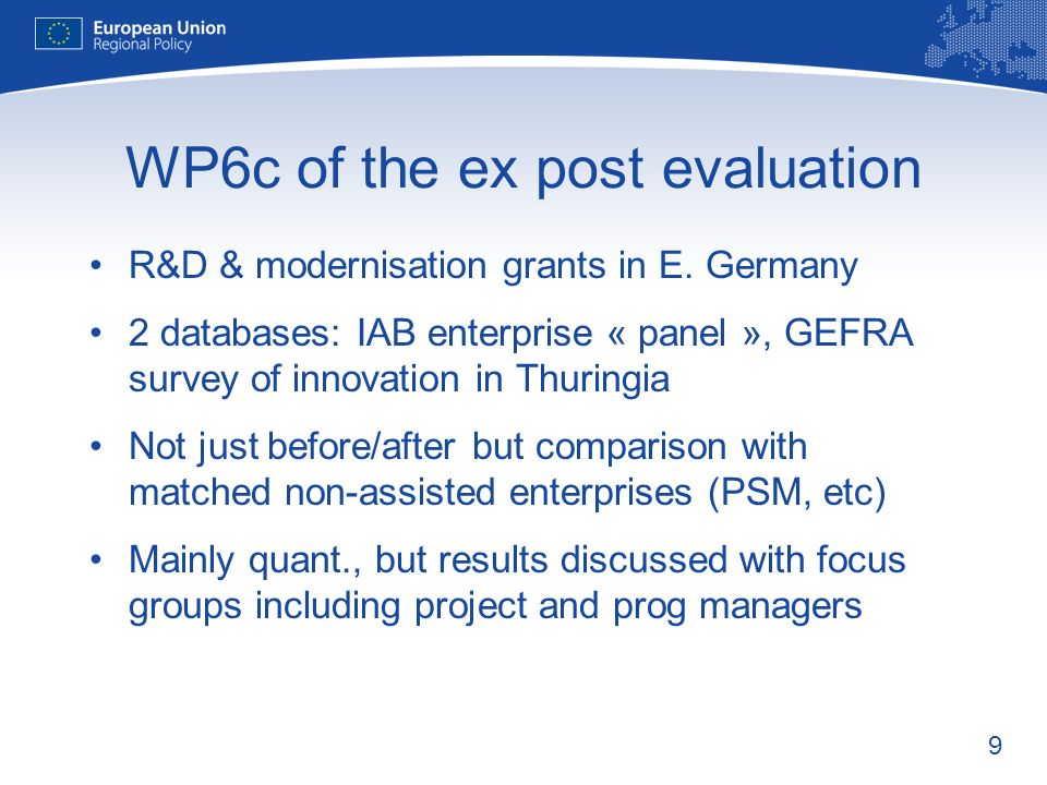 9 WP6c of the ex post evaluation R&D & modernisation grants in E.