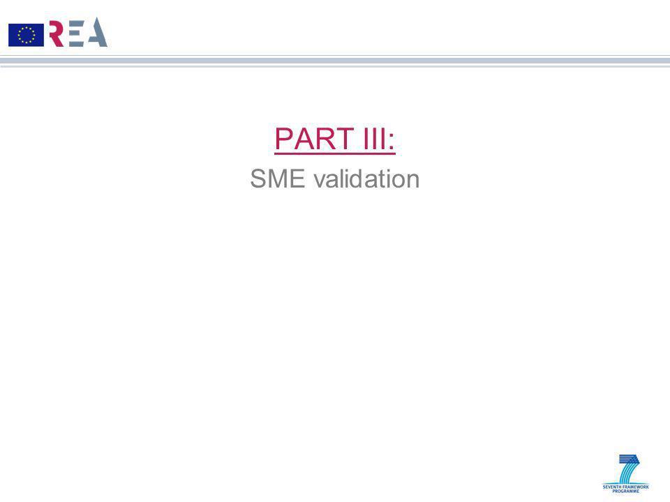 PART III: SME validation