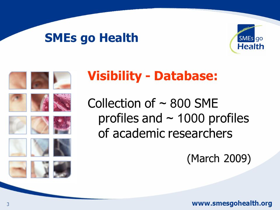 www.smesgohealth.org 3 Visibility - Database: Collection of ~ 800 SME profiles and ~ 1000 profiles of academic researchers (March 2009) SMEs go Health