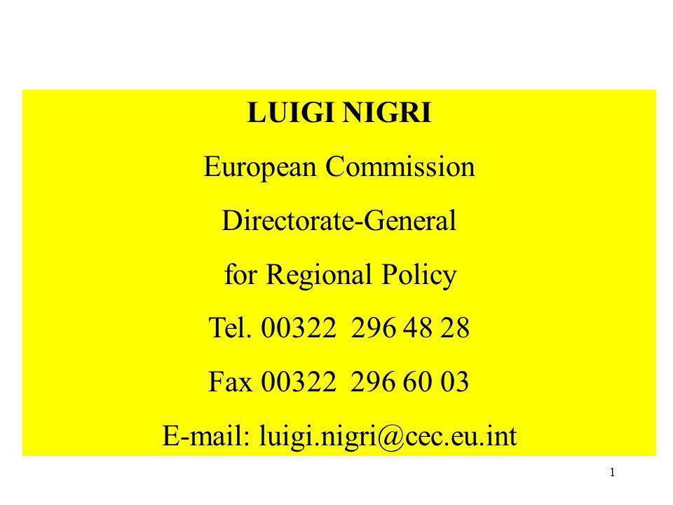 1 UNION EUROPEENNE LUIGI NIGRI European Commission Directorate-General for Regional Policy Tel.