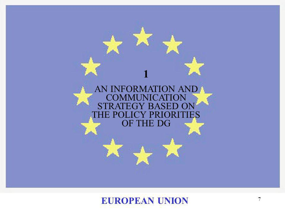 7 1 AN INFORMATION AND COMMUNICATION STRATEGY BASED ON THE POLICY PRIORITIES OF THE DG EUROPEAN UNION