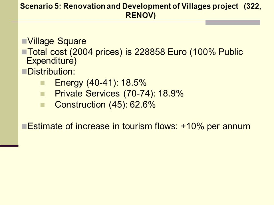Village Square Total cost (2004 prices) is 228858 Euro (100% Public Expenditure) Distribution: Energy (40-41): 18.5% Private Services (70-74): 18.9% Construction (45): 62.6% Estimate of increase in tourism flows: +10% per annum Scenario 5: Renovation and Development of Villages project (322, RENOV)