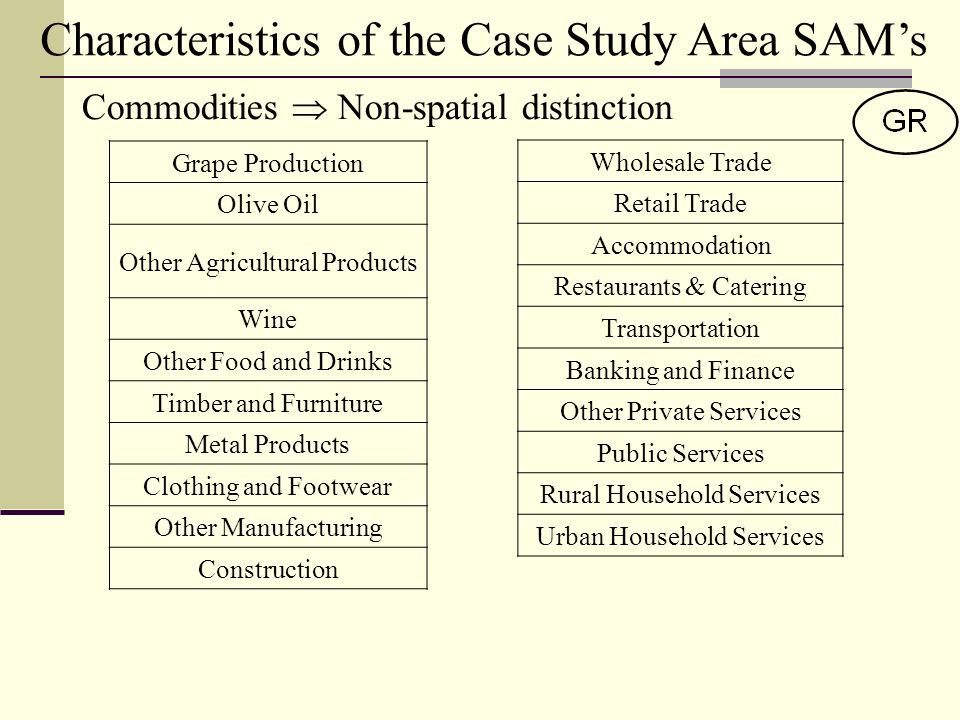 Characteristics of the Case Study Area SAMs Commodities Non-spatial distinction Wholesale Trade Retail Trade Accommodation Restaurants & Catering Transportation Banking and Finance Other Private Services Public Services Rural Household Services Urban Household Services Grape Production Olive Oil Other Agricultural Products Wine Other Food and Drinks Timber and Furniture Metal Products Clothing and Footwear Other Manufacturing Construction