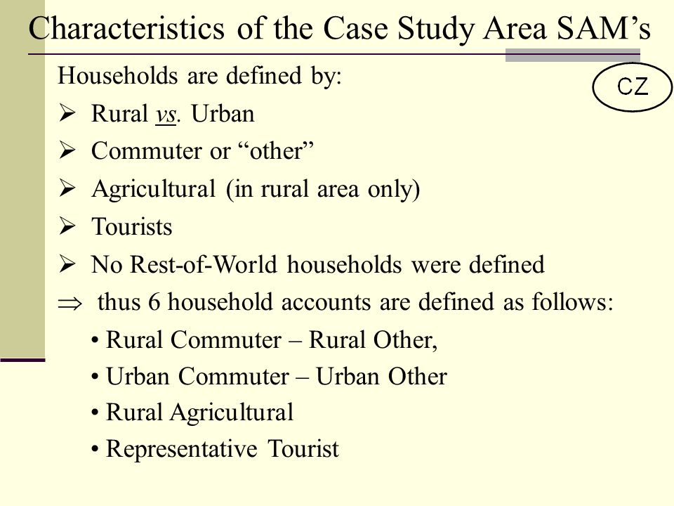 Characteristics of the Case Study Area SAMs Households are defined by: Rural vs.
