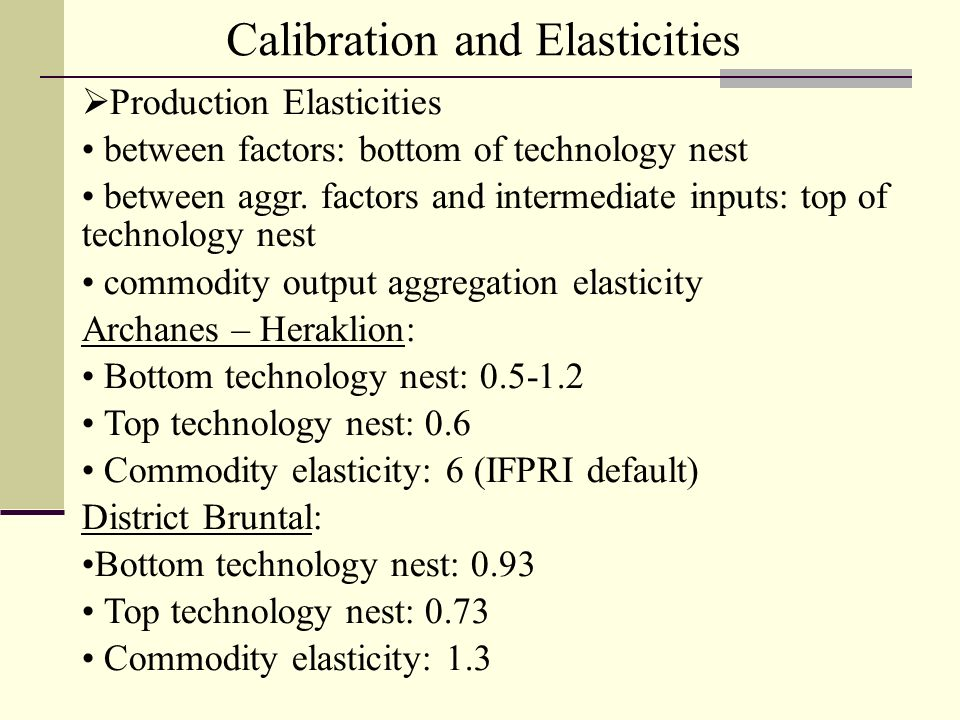 Calibration and Elasticities Production Elasticities between factors: bottom of technology nest between aggr.