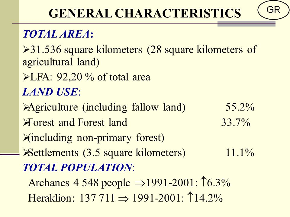 TOTAL AREA: square kilometers (28 square kilometers of agricultural land) LFA: 92,20 % of total area LAND USE: Agriculture (including fallow land)55.2% Forest and Forest land 33.7% (including non-primary forest) Settlements (3.5 square kilometers) 11.1% TOTAL POPULATION: Archanes people : 6.3% Heraklion: : 14.2% GENERAL CHARACTERISTICS